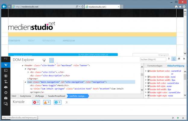 Die neuen <i>F12 Developer Tools</i> in Internet Explorer 11