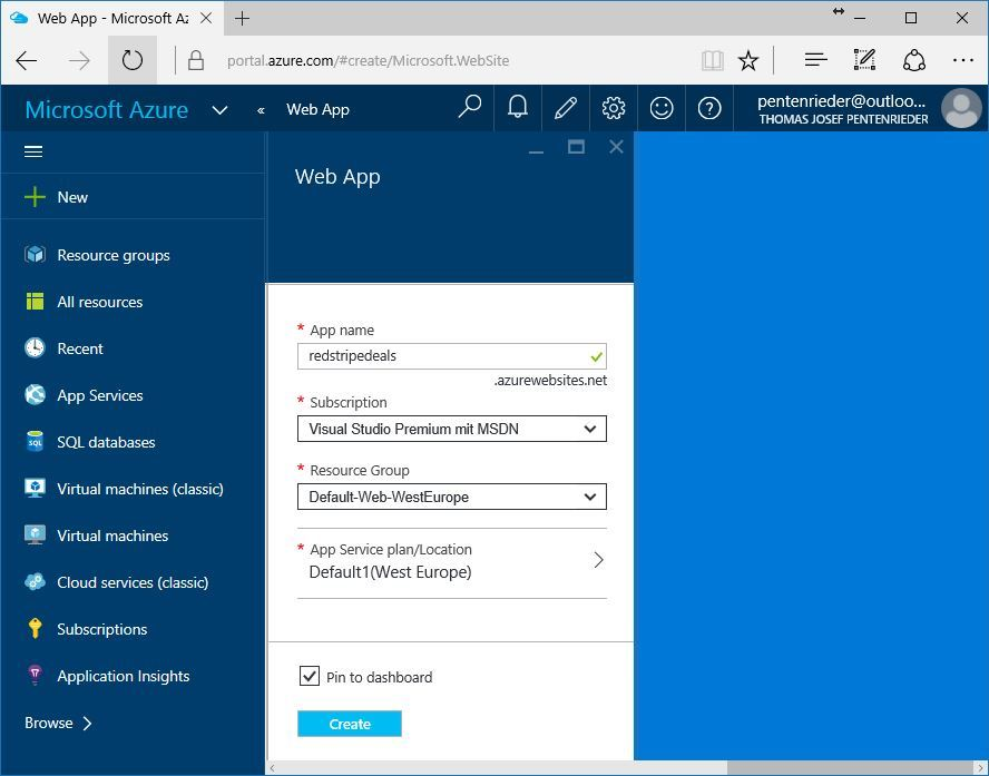 azure new web app