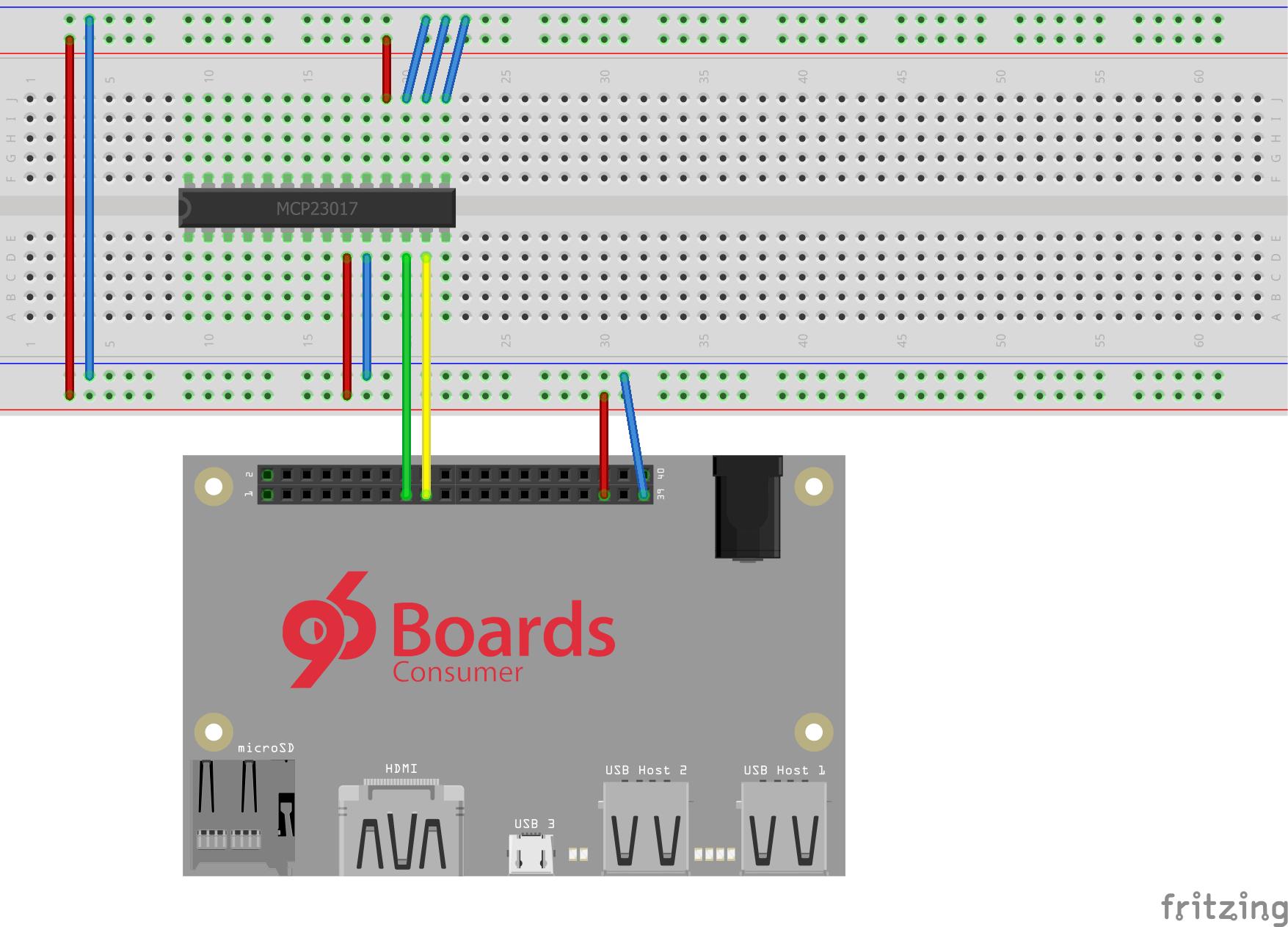 DragonBoard 410c & MCP23017 Breadboard Wiring