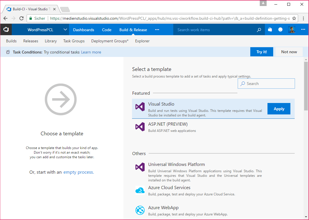 Create new VSTS Build Definition