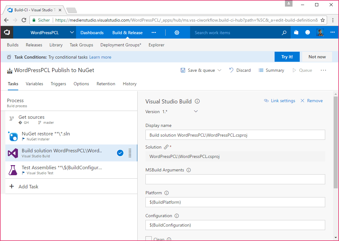 Configure Build Step in VSTS