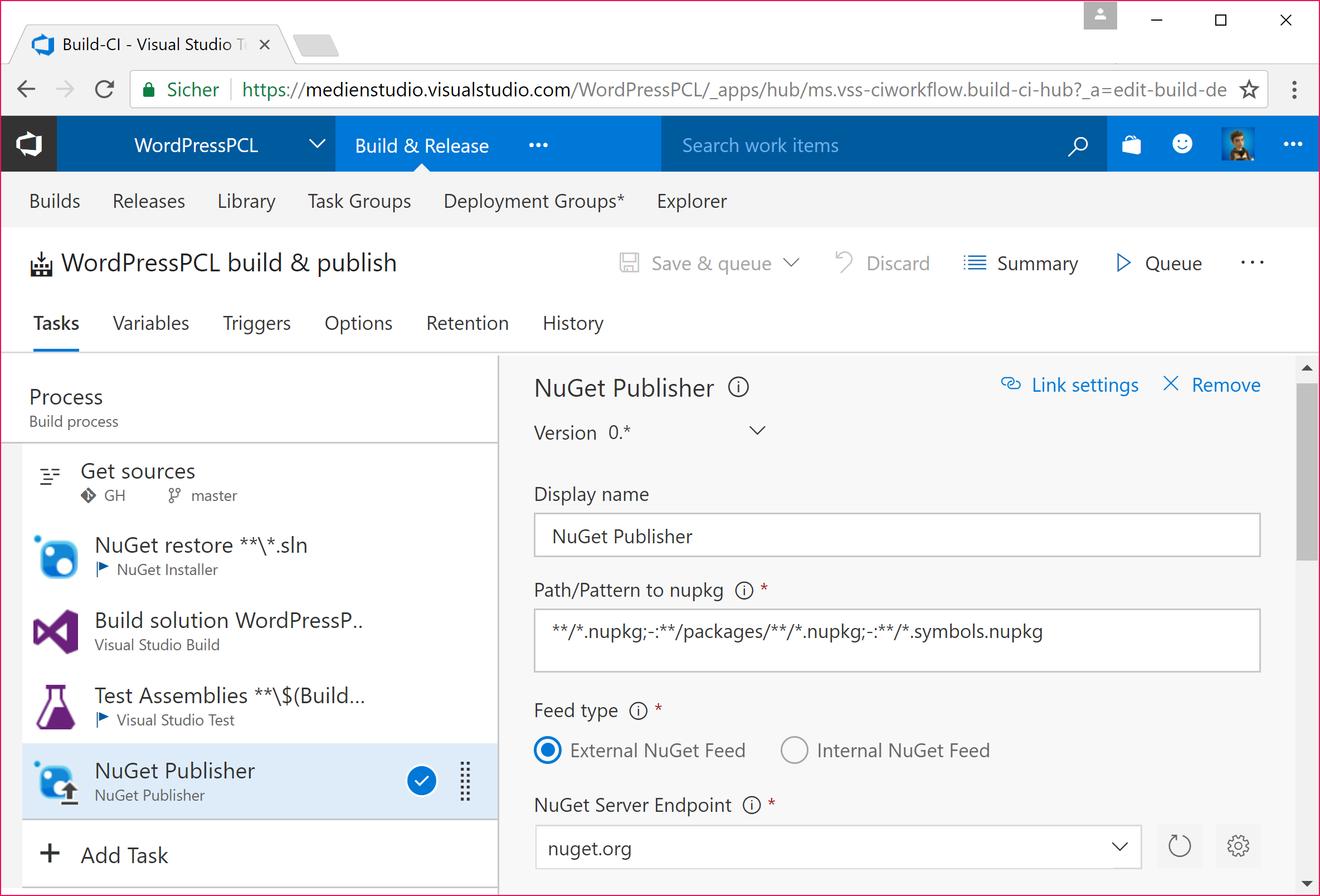 Configure NuGet Publisher Step